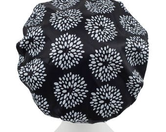 Black & White Dots Extra Large Microfiber Shower Caps f Bath Hat Bouffant Hair Accessory Adults / Teens