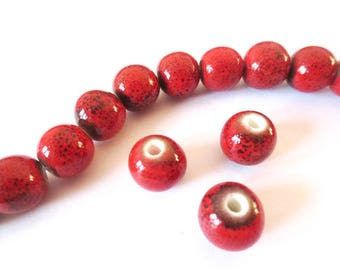 1 x Pearl handcrafted 10mm ANTIQUE red porcelain