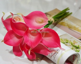 Fuchsia Calla Lilies Real Touch PU Calla Lily Bridal Bouquet Fuchsia Flowers 10pcs/Set Latex Calla Lily MTL-FLN012