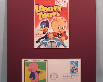 Warner Brothers - Saluting Porky Pig  & First day Cover of his own stamp