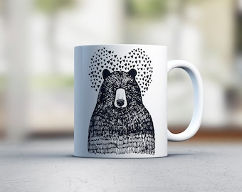 Bear in love - cute mug