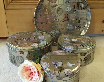Set of 3 Shabby Chic Storage Tins with Matching tray
