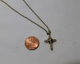Vintage Signed ROMAN Cross Pendant Necklace with Rhinestones