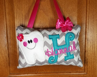 Personalized Girls Tooth Fairy Pillow gray and white chevron, optional tooth chart available
