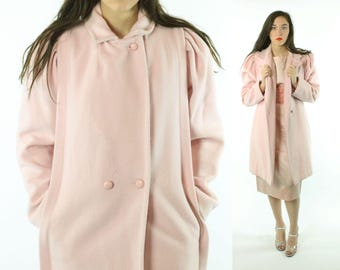 80s Pink Wool Coat Puff Sleeves Long Double Breased Peacoat Trench Winter Vintage 1980s Medium M Saril