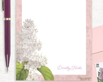 personalized notePAD - GRANDMA'S LILACS in PINK - custom stationery - stationary - flower notepad - botanical - floral