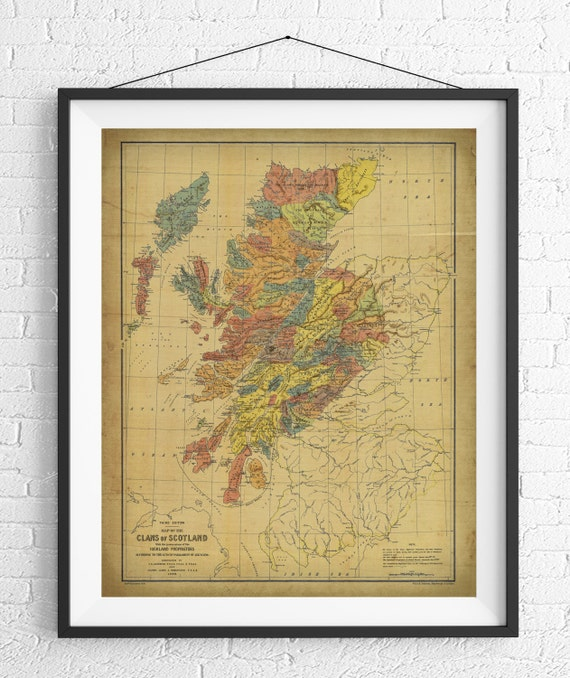 Scotland Map Print Vintage Map Art Antique Map Wall Decor