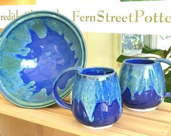 Large Handmade Pottery Mug, Blue World coffee cup, coffee mug, 14 oz, roomy handle mug