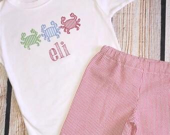 Crab Applique shirt with custom shorts option