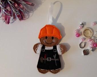 Gingerbread mini builder handyman with tool belt. Handmade. Embroidered. Felt