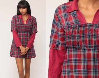 70s Mini Dress Red Plaid Dress Mod Tartan Checkered Babydoll SMOCKED Dolly Preppy Long Sleeve 1970s Vintage Retro MiniDress petite Medium