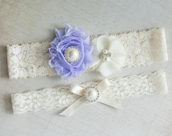 Bridal Garter/Belt Set, Wedding Garter/Belt Set, Lavender Lace Garter, Pearl Crystal Garter Set, Toss garter, Vintage garter