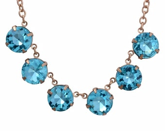 Blue Glass Stones Dangling from Gold plated chain, 19 to 20 ""