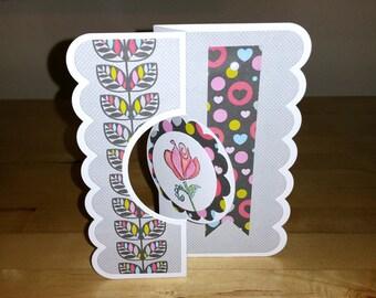 All Occasion, Handmade, Card, Scalloped, Twisting, Love, Anniversary, Sympathy, Rose, Birthday, 3-D, Feminine