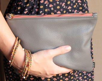 POCH Grey leather clutch