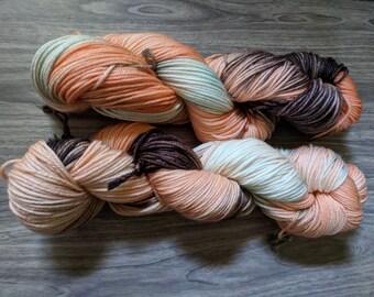 Yarn, DK Yarn, Hand Dyed Yarn, Orange Yarn, Green Yarn, Brown Yarn,  Superwash Merino Wool -  Summer Melon