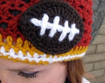 USC Trojans Football Beanie, Crochet football hat, Football team colors, Womens football hat, team colors, SC Hat (choose team)