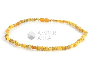 Natural Amber Necklace, Raw Amber Beads, Baltic Amber Necklace, 44 cm, HG191