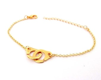 Minimalist bracelet golden handcuff and chain