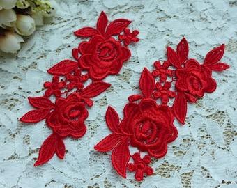 Victorian Flower Venice Lace Applique Pair, Red Bridal Lace Applique, High Quality