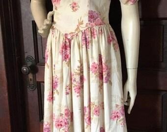 VINTAGE 80's LAURA ASHLEY sz 8 Romantic Cotton Voile Edwardian Tea Dress Pansies
