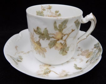 Haviland Demitasse Cup and Saucer, Yellow Flowers and Green Leaves