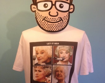Bea Arthur - Golden Girls / The Beatles Funny TV/Music T-Shirt (Let It Bea) - White Shirt