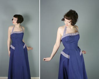 50s NAVY blue evening dress with STRIPED details - halter strap and full sweep skirt - Mid Century prom / party gown - S