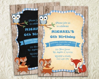 Boy Woodland Birthday Invitation, Woodland Animals Invitation, Forest Birthday Invitation, Forest Critters Fall Rustic Wood Fox Invite