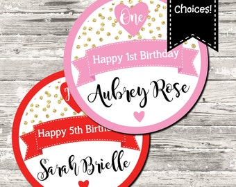 Little Sweetheart First Birthday Gold Confetti with Pink or Red Cupcake Topper Circle Tag Party Circle Favor Tag Printable Digital