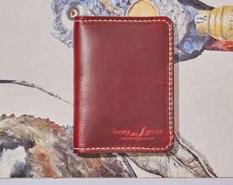 Red Leather Passport Holder - Red Passport Wallet - Passport Wallet - Horween Leather Passport Case - Travel Wallet - Mother's Day Gift