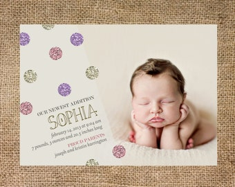 Birth Announcement girl, glitter, pink and purple, photo, personalized and printable