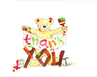 Thank You bear card, original hand-painted watercolour design, art card, children's quirky cute Thank You card, Boris the Bear