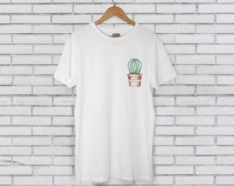 Chubby Round Prickly Pear Cactus White Tee Tshirt