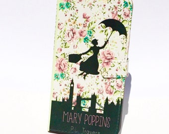 Book phone /iPhone flip Wallet case- Mary Poppins for  iPhone X, 8, 7, 6, 5, 6 7 & 8 plus, Samsung Galaxy S9 S8 S7 S6, S5 Note 4 5 7 8 LG