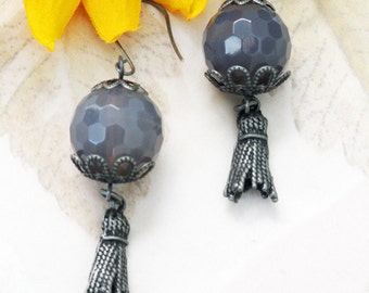 Gray Faceted Agate Long Earrings 126