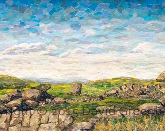 Cheesewring, Bodmin Moor - Signed Fine Art Giclée Print. green landscape print from original fine art collage.