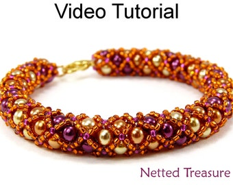 Video Tutorial Necklace Bracelet Beaded Jewelry Making Pattern Tubular Netting MP4 Instructions Directions Beadweaving Stitch Beads #9519