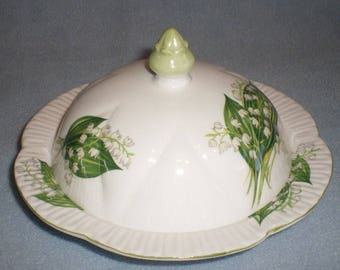 Shelley Lily Of The Valley #13822 Dainty Covered Butter Dish