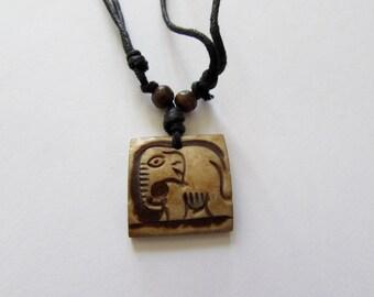 Elephant Adjustable Wax cord  Yak bone necklace handmade hand carved Unisex Tribal bone beads Yoga Yogi Free UK Delivery