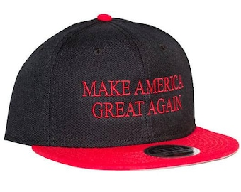 Make America Great Again Black/Red 6-Panel Flat Bill Hat