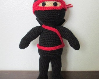 Amigurumi Ninja Doll, Crochet Ninja Doll, Stuffed Ninja, Ninja Plushie, Ninja Toy, Custom Ninja, Handmade Ninja Doll, Custom Crochet Doll
