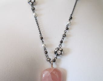 Large light pink Rose Quartz pendant necklace on silver chain with faux pearl and rhinestone accents