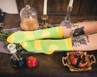 Limoncello Lemons Summer Socks in Yellow Green, Socks as Gift, Socks in Sandals, Trendy Socks,  Socks for Husband, Socks for Fathers, Happy