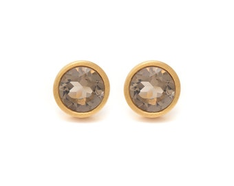Smoky Quartz Stud Earrings - Gemstone POP Stud Earrings - Smoky Quartz in Yellow Gold - 18k Gold Vermeil - Studs