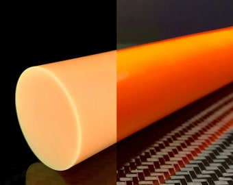 "HyperGlow 0.75"" ORANGE Glow in the dark rods Skur Composites 3/4"" Diameter"
