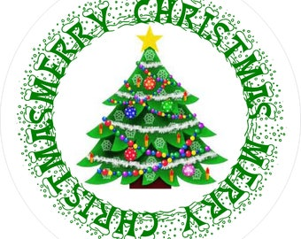 Christmas Stickers 35mm - Christmas tree deisign x 35