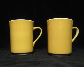 Vintage Syracuse China Set of Two Coffee Mugs   Yellow Stoneware Coffee Cups  Harvest Gold  Syralite  USA