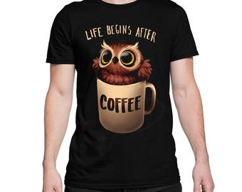 Owl 'Life Begins After Coffee' T-shirt, All Sizes