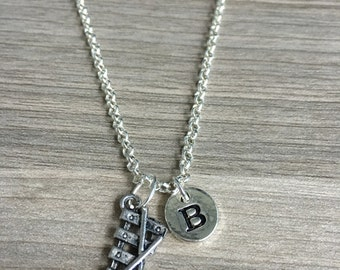 Xylophone initial necklace - xylophone jewelry, musician jewelry, gift for music teacher, instrument jewelry, silver xylophone necklace